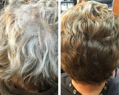 Women's Before and After Hair Color