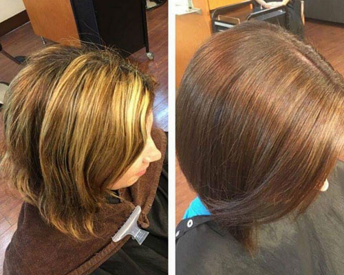Womens Before and After Hair Cut and Hair Color